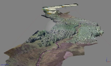 'Structure-from-Motion' (SfM) 3D model of Girnock Burn, Scotland showing tree cover